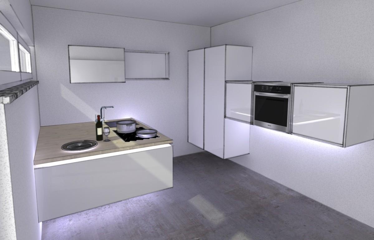 Küchenvorentwurf, Kreativkopf Freiburg, computerunterstützte Visualisierung, Rendering