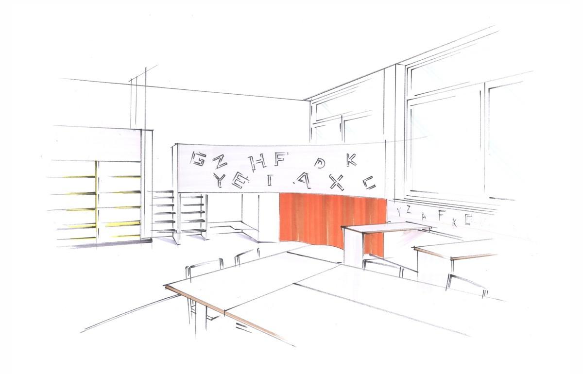 Klassenzimmer, Kreativkopf Freiburg, Entwurf, Visualisierung, Skizzenstil, Punktuell Copystifte