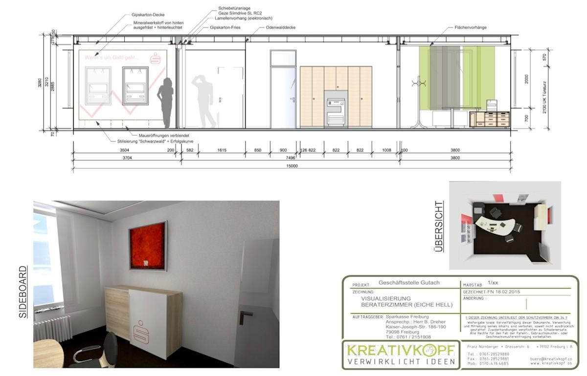 Sparkasse, Kreativkopf Freiburg, Werkplanung, Ideen, Visualisierung, Entwurf